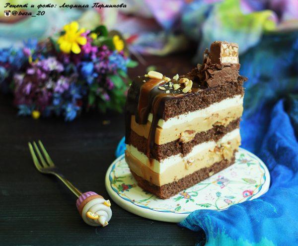 Рецепт торта Сникерс с кремом Шантильи и карамельным муссом