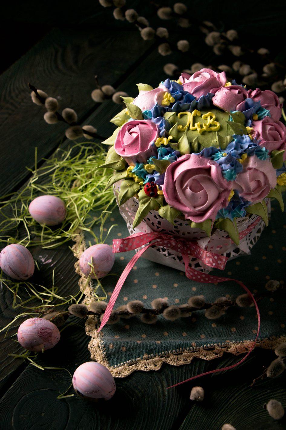 цветы из мокрого безе