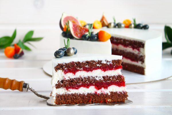 Шоколадный торт «Малина-лимон»
