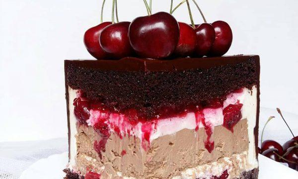 чизкейк внутри, торт с чизкейком внутри, шоколадный торт, вишневый торт, homebaked.ru
